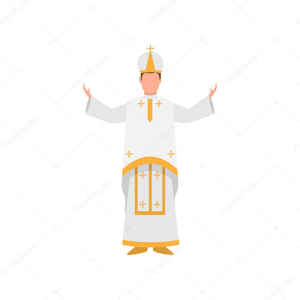 Vatican papa francisco priest in white clothes with gold ornament