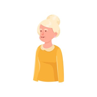 Cute granny avatar with white hair in yellow dress