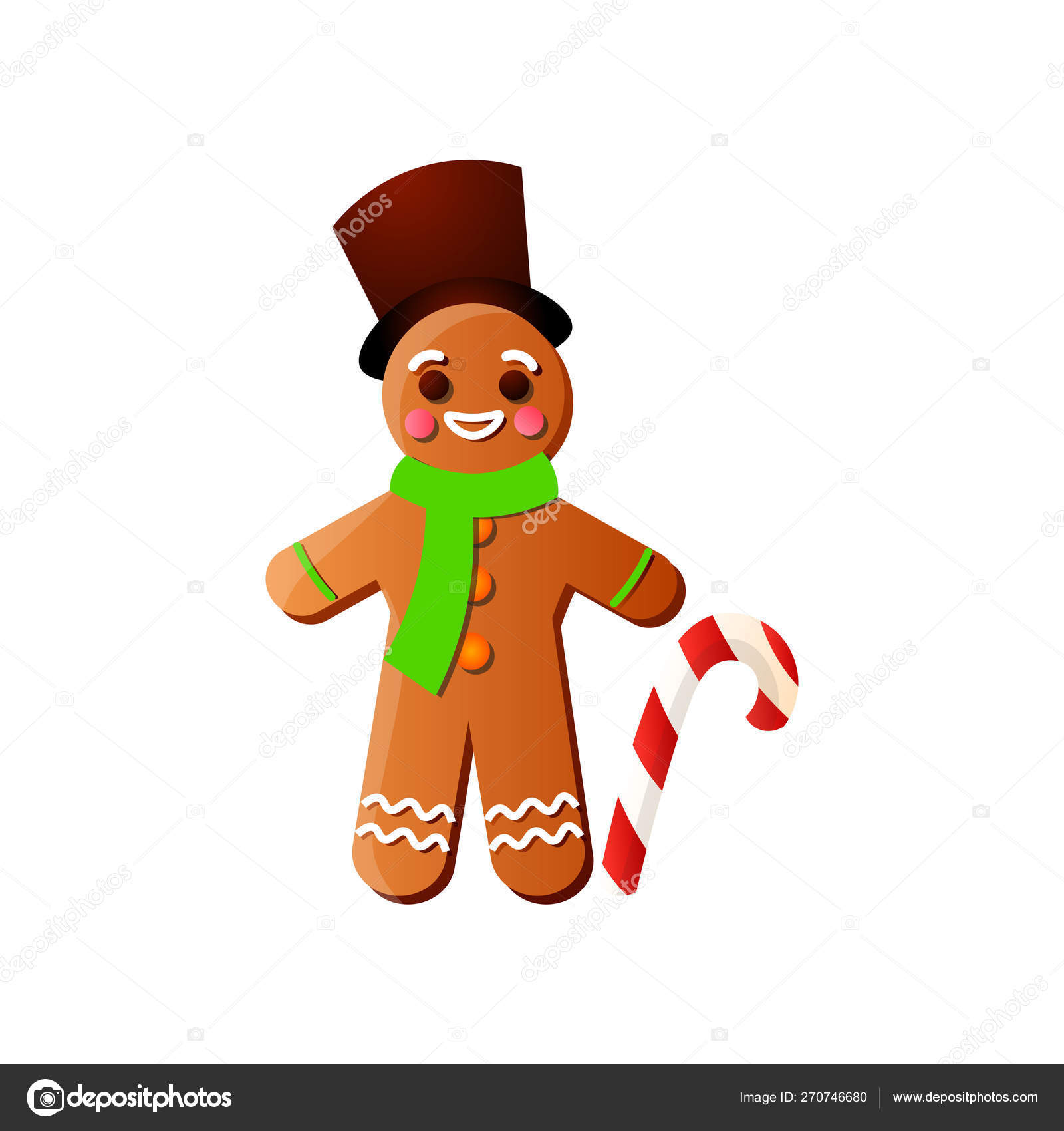 Smiling Xmas Gingerbread Man With Top Hat And Candy Stick Stock