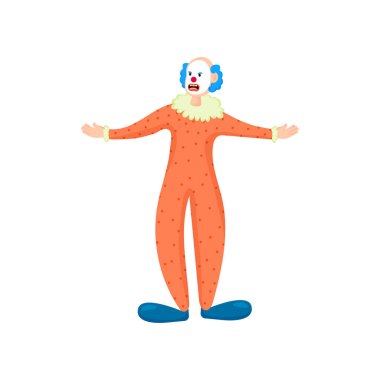 Scary clown with blue hair, red lips and orange clothes