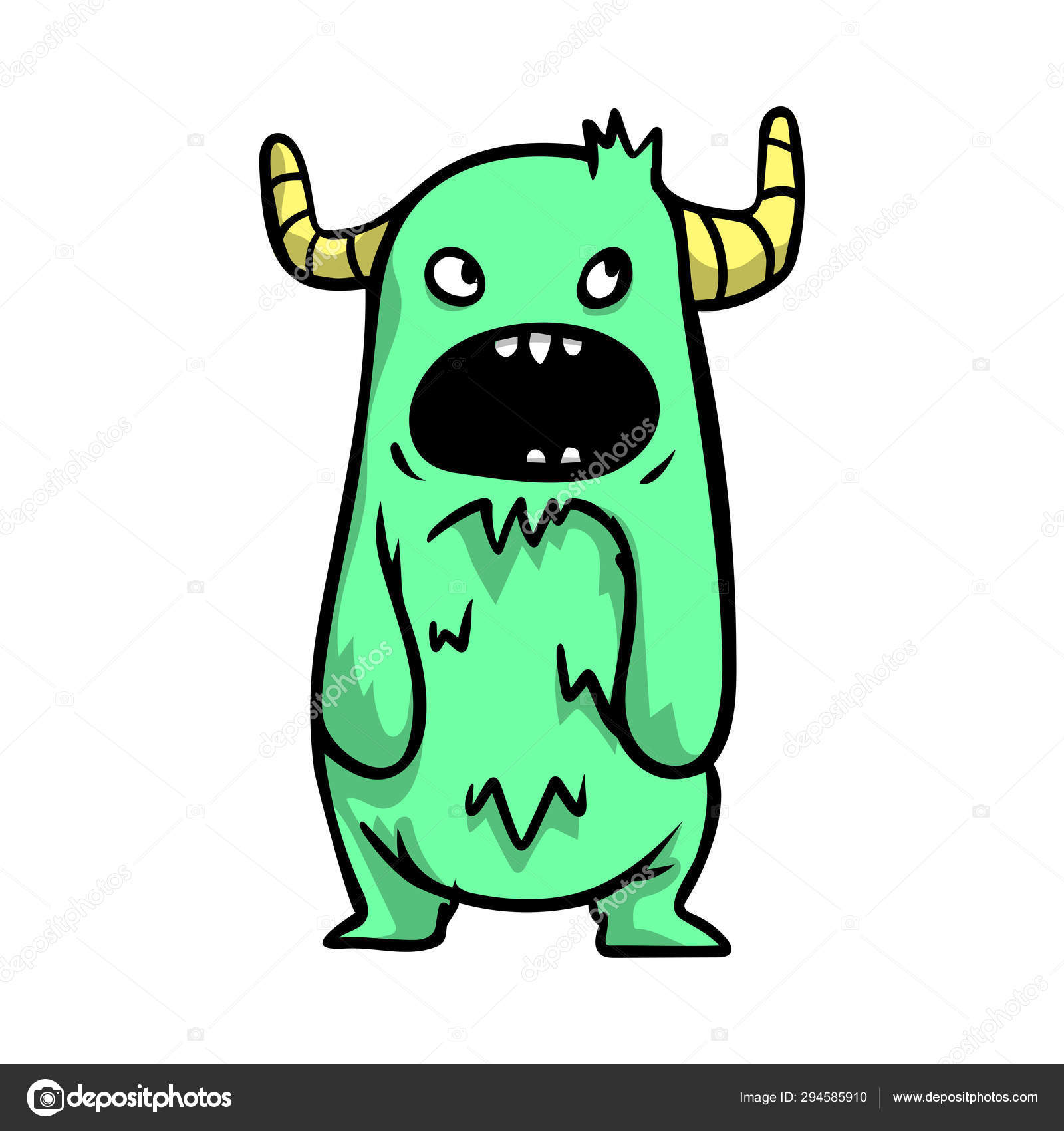 Beautiful Cheerful And Cute Cartoon Monsters With Big Horns Of Green Color Stock Vector C Greenpic Studio 294585910