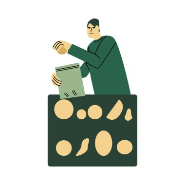 Happy smiling man in a green shirt packs food into an eco bag. Ecological lifestyle concept. Isolated vector icon illustration on a white background in cartoon style. icon