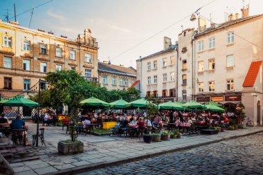 Lviv, Ukraine - May 24, 2018:  Lviv outdoor cafe , Ukraine