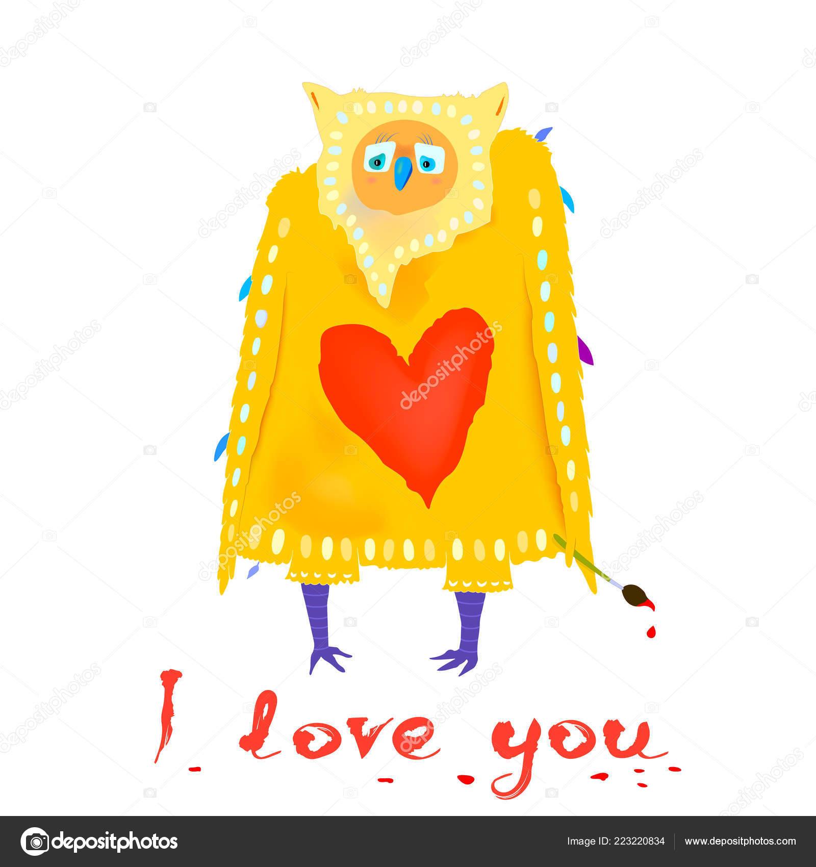 Lustiger Charakter Verliebt Cartoon Eule Mit Herzform Und Text Ich