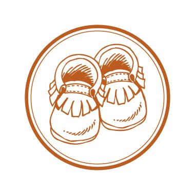 Baby moccasins with fringe in hand drawn style