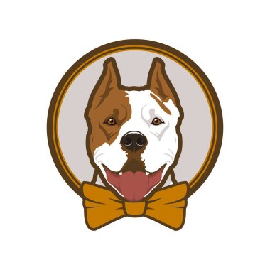 Pitbull boxer head dog mascot in bow-tie