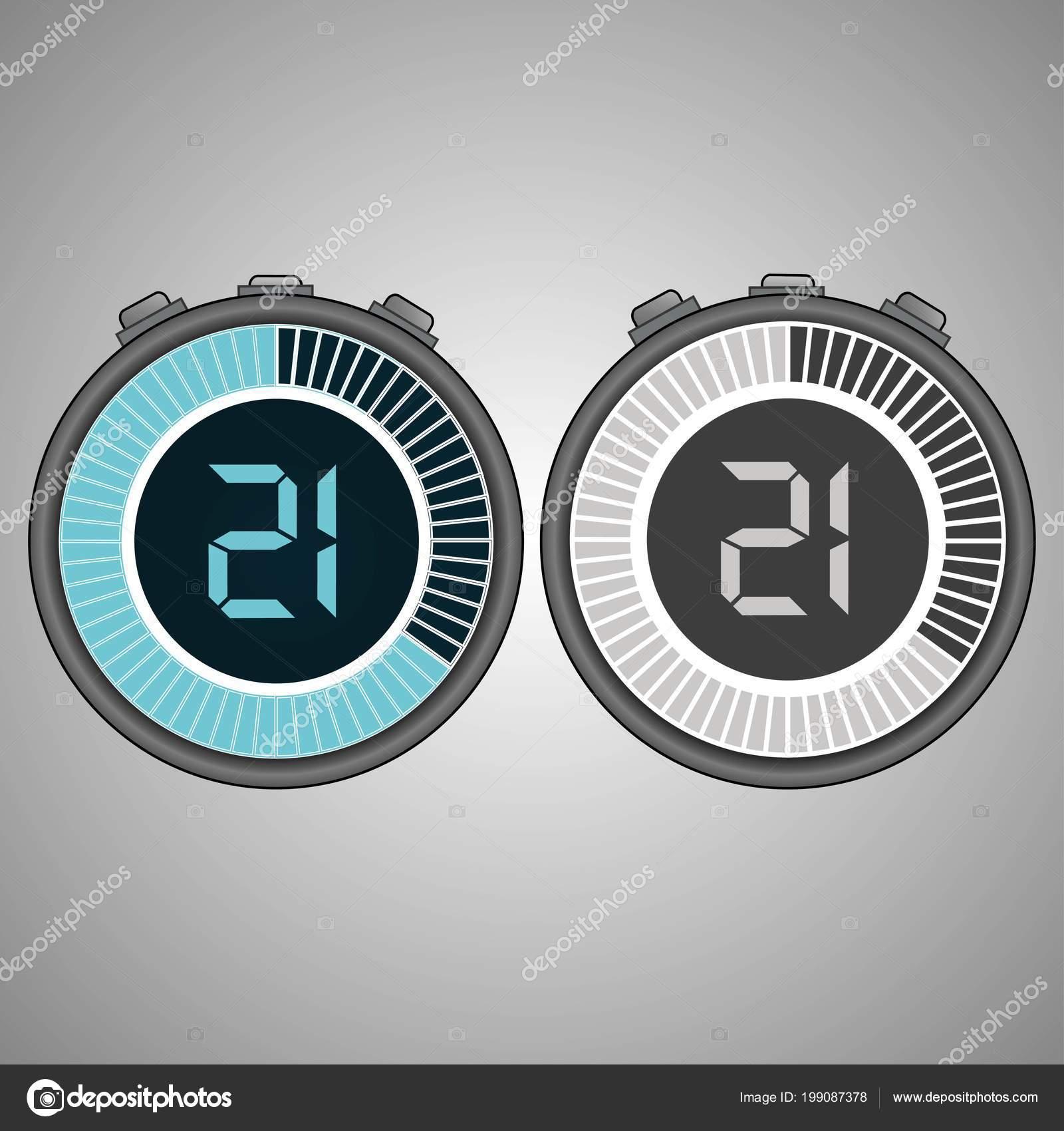 7f4bdd3cb7b3 Cronómetro Digital electrónico. Contador 21 segundos aislados sobre fondo  gris. Conjunto de icono de cronómetro. Icono del temporizador. Control de  tiempo.