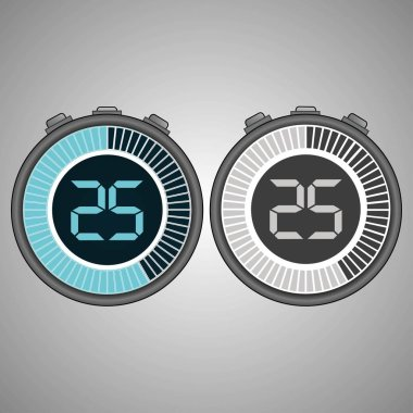 Electronic Digital Stopwatch. Timer 25 seconds isolated on gray background. Stopwatch icon set. Timer icon. Time check. Seconds timer, seconds counter. Timing device. Two options. EPS 10 vector.