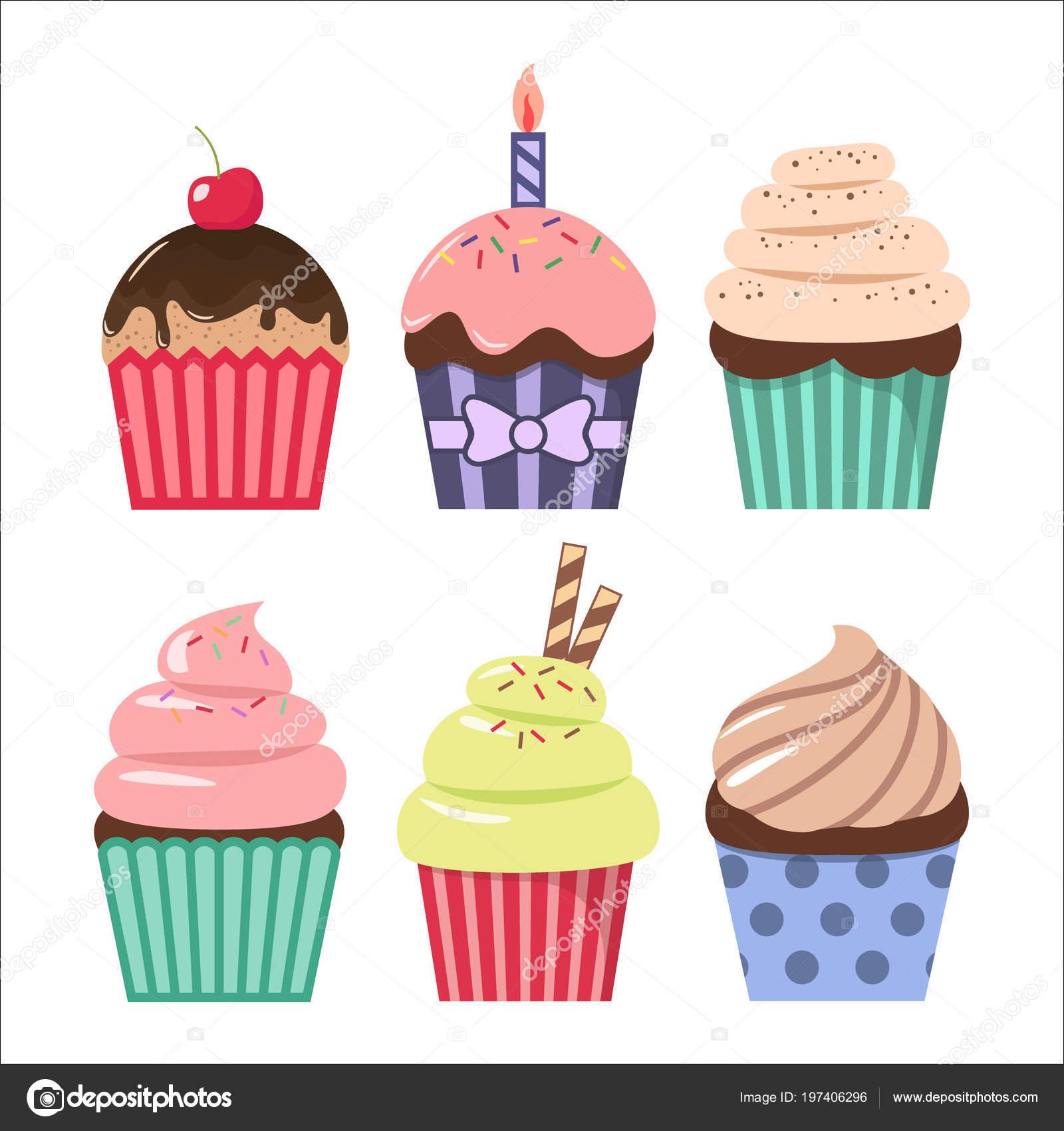 Clipart Cupcake Cartoons Clip Art Cartoon Cupcake Set Colorful