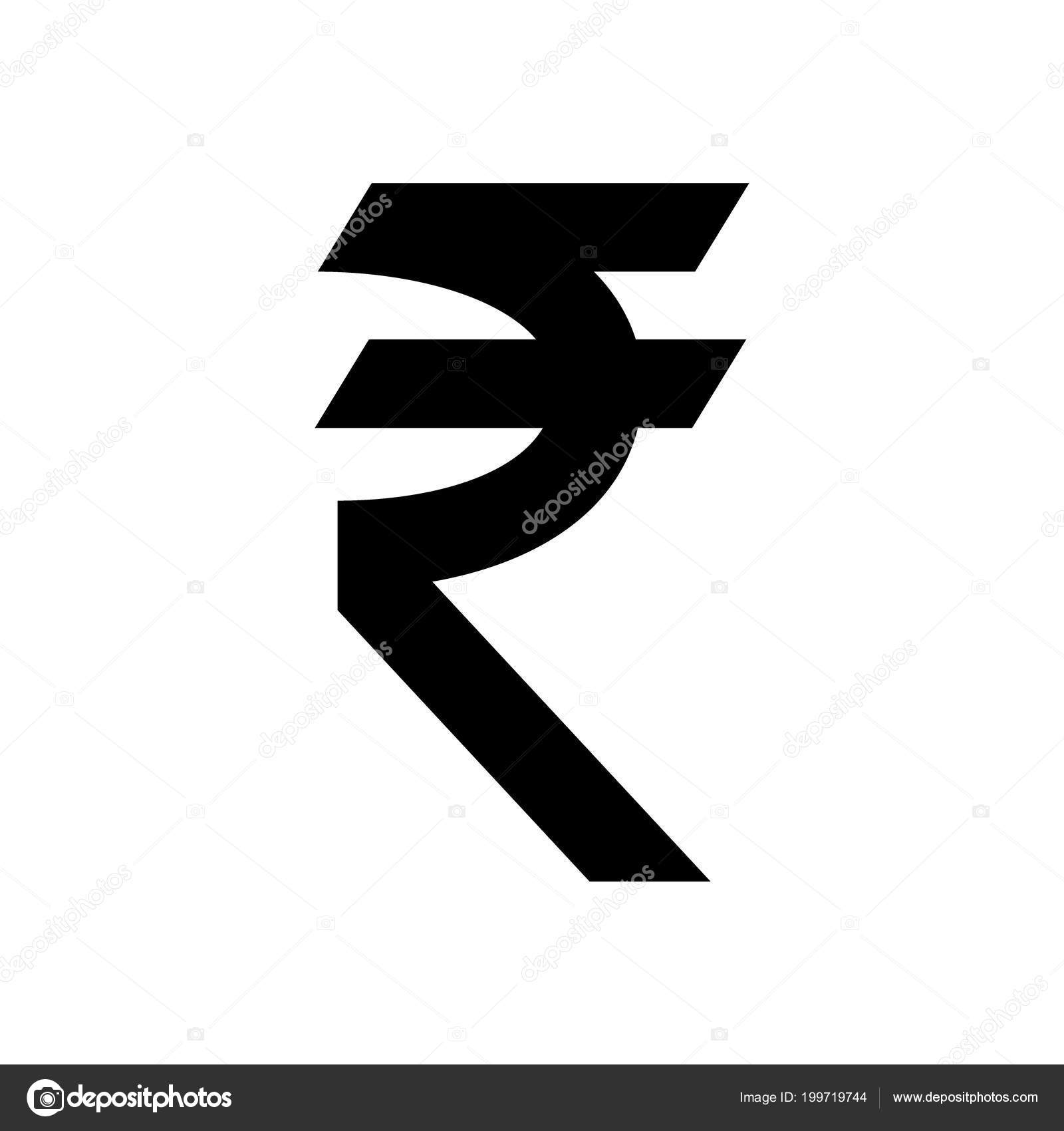 Indian Rupee Currency Symbol Black Silhouette India Rupee Sign