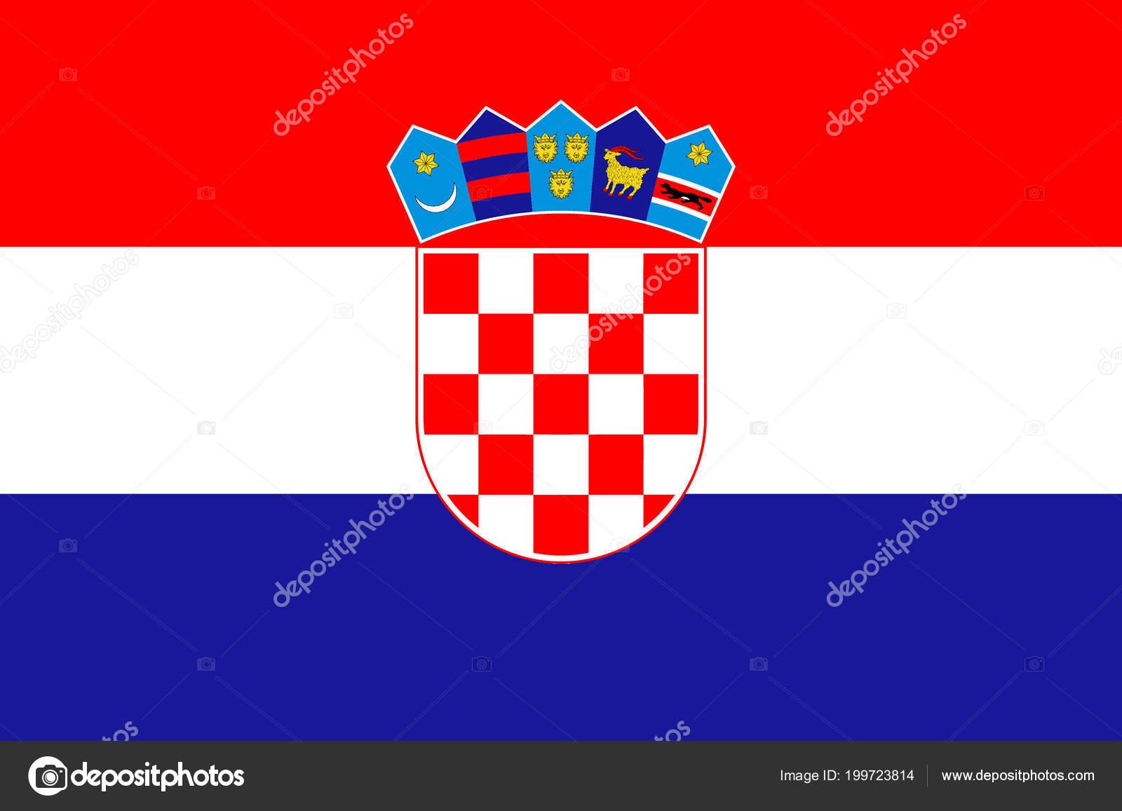 Bandera Nacional Croata Bandera Oficial Colores Exacta Croacia Color  Verdadero — Vector de stock 0338f635d34ce