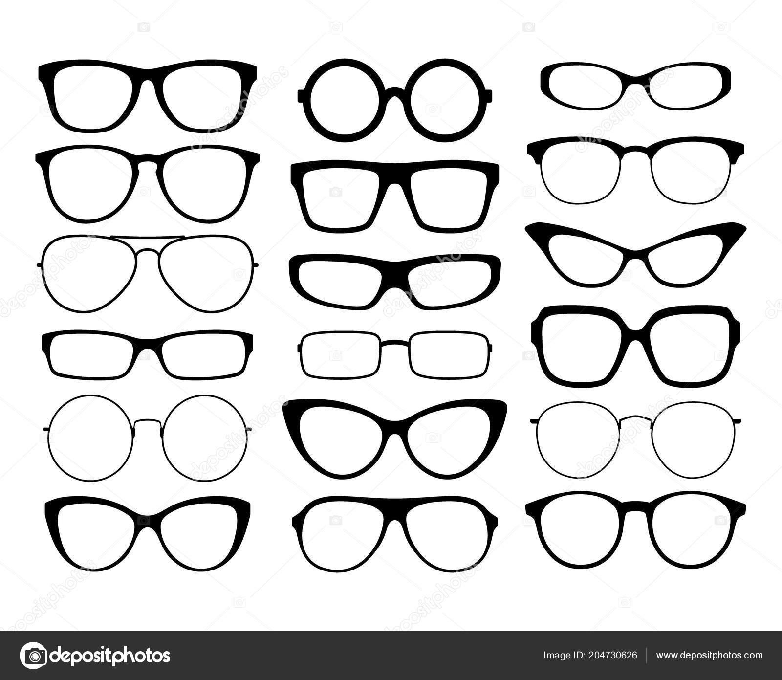 9f02b7aa7ee73 Vários Óculos Silhueta Preta Conjunto Armações Óculos Armações Óculos Sol —  Vetores de Stock