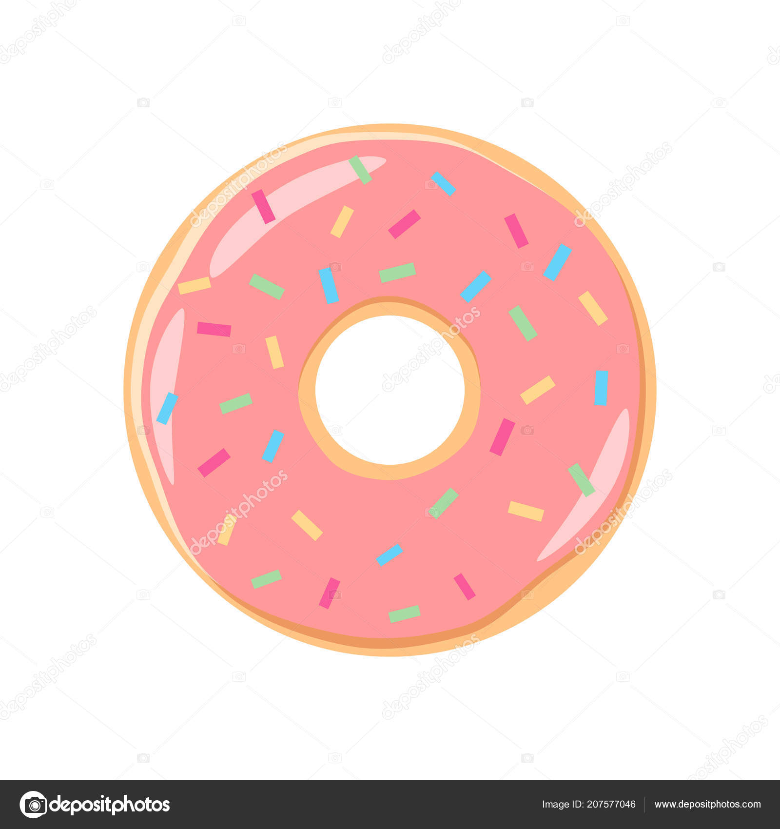 Clipart: doughnuts | Colorful Pink Icing Donut Cartoon Pink