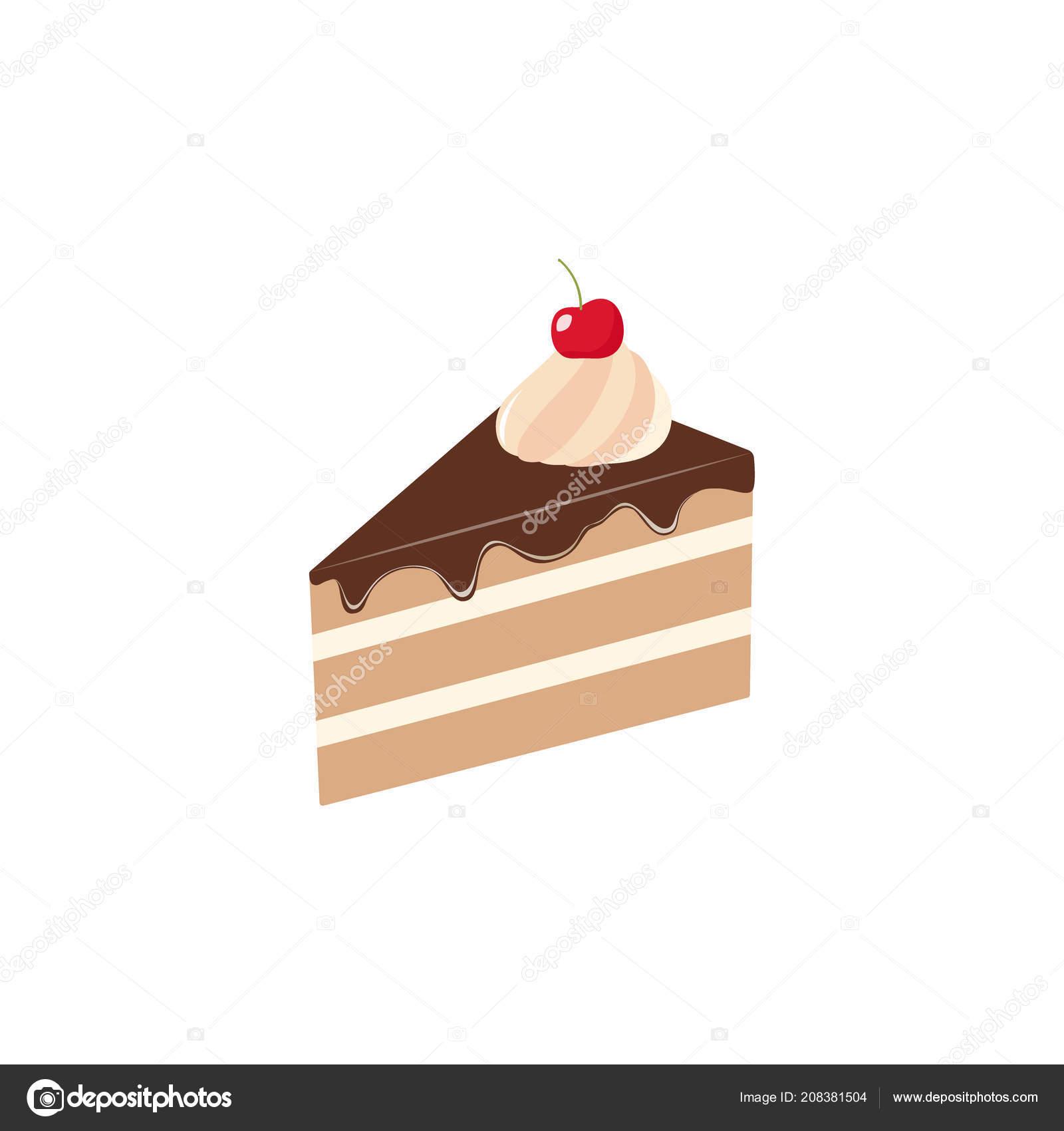 Scheiben Geschnitten Stuck Schokoladenkuchen Vektor Clipart Cartoon