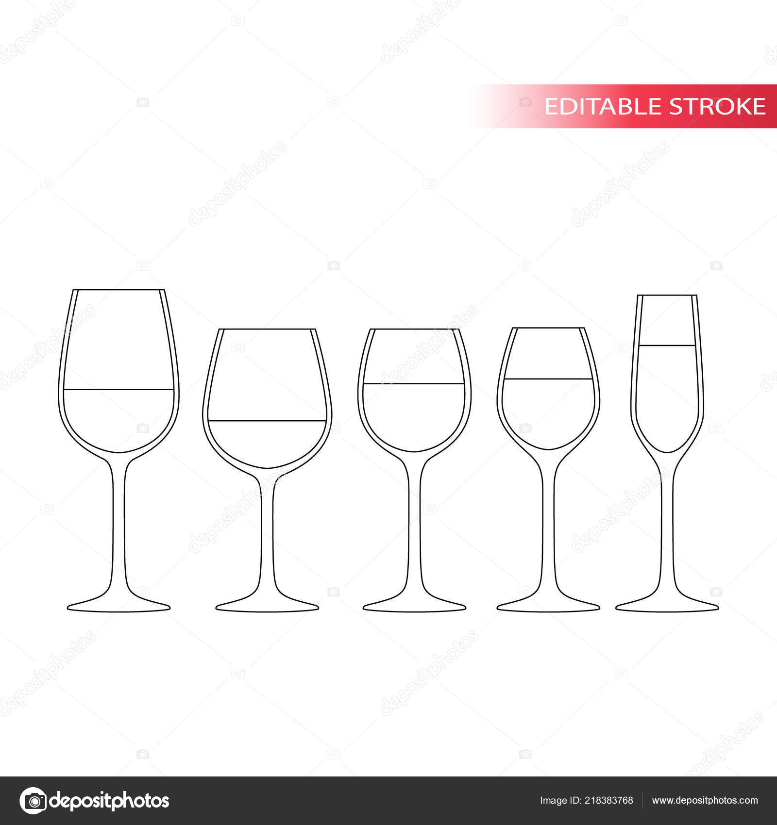 3a1c96b0d984 Wine Glass Thin Line Icons Set Types Wine Glasses Red — Stock Vector ...