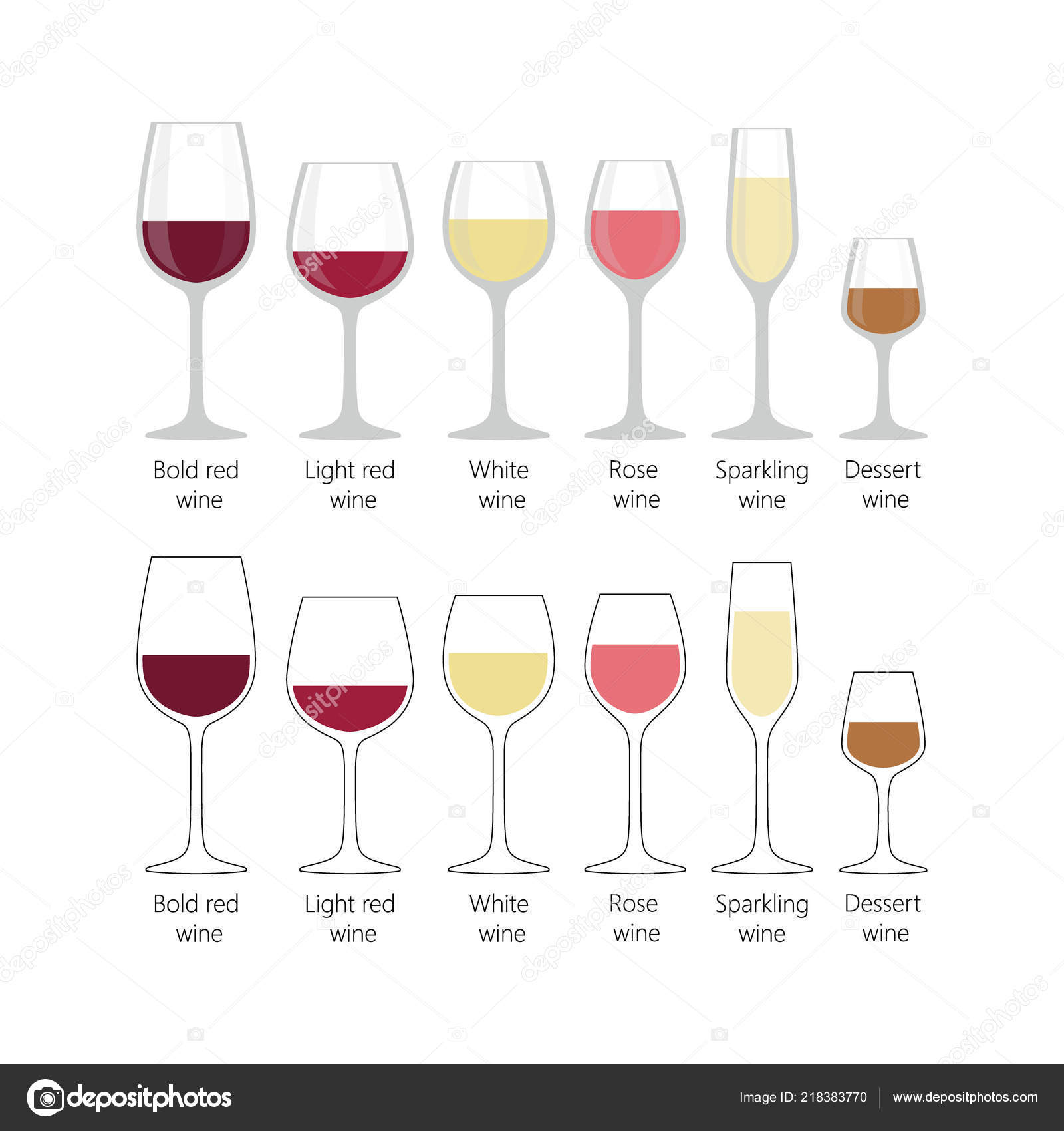 112f97e6adfc Types Wine Glasses Set Colorful Full Wine Glasses Light Red — Stock ...