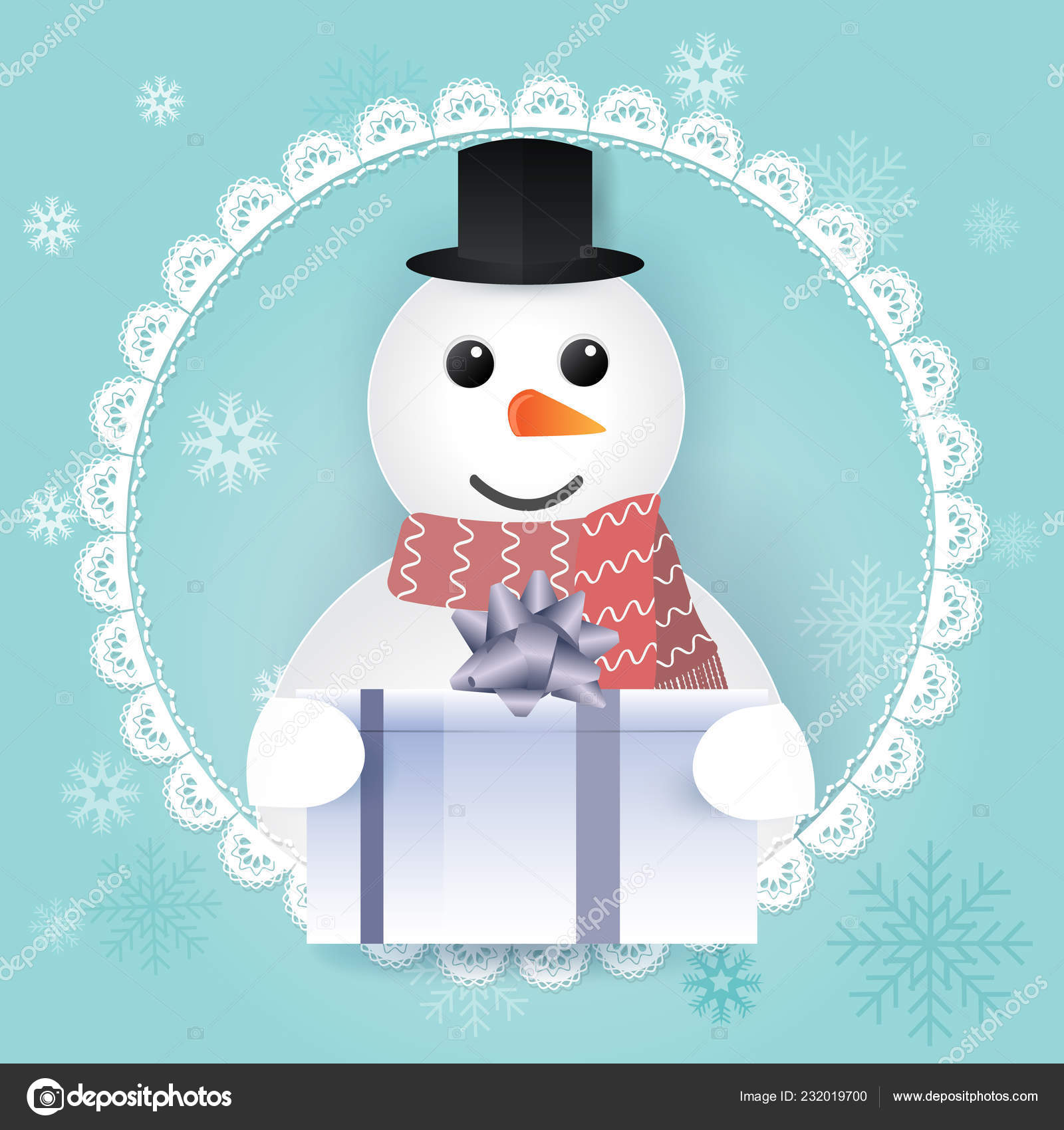 Paper Art Snowman Gift Box Lace Frame Merry Christmas Happy Stock