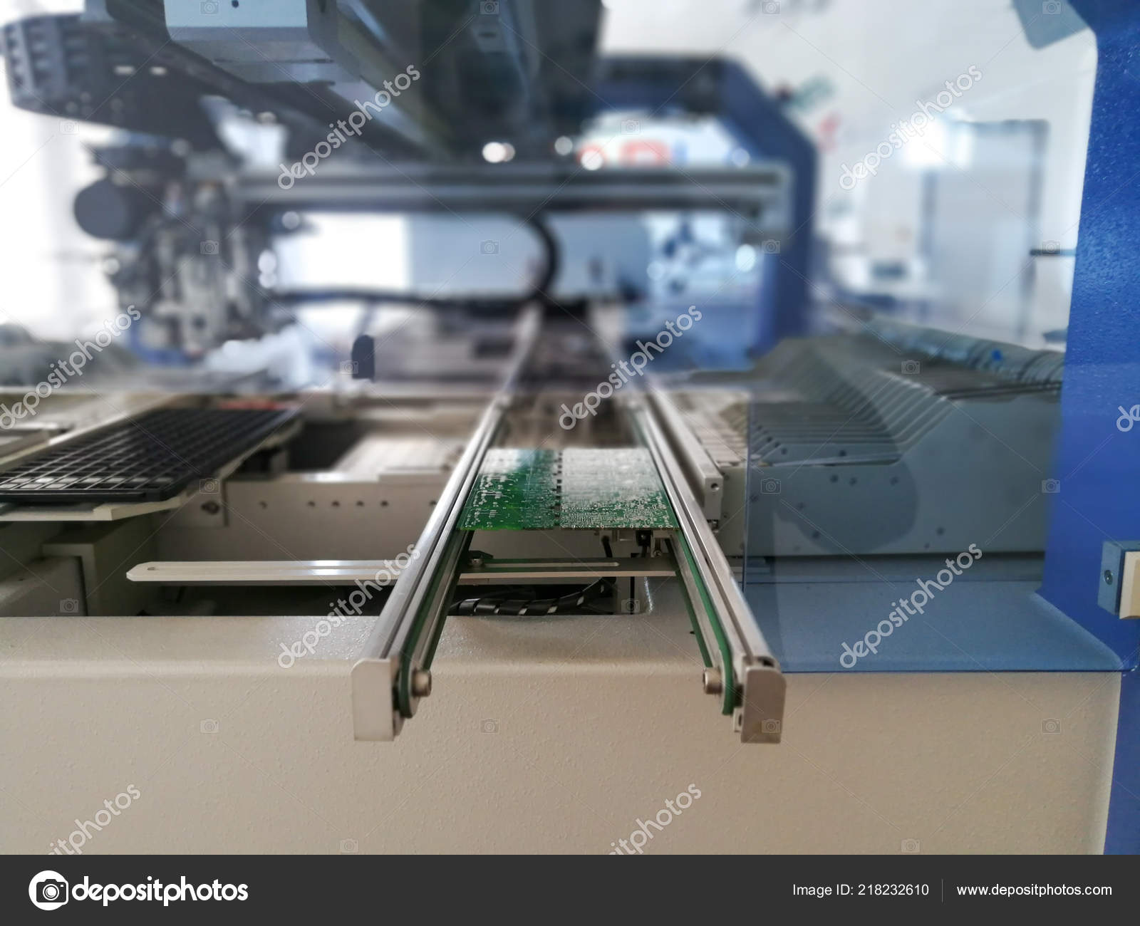 Printed Circuit Board Electronic Components Ready Assembly Stock Machine Photo