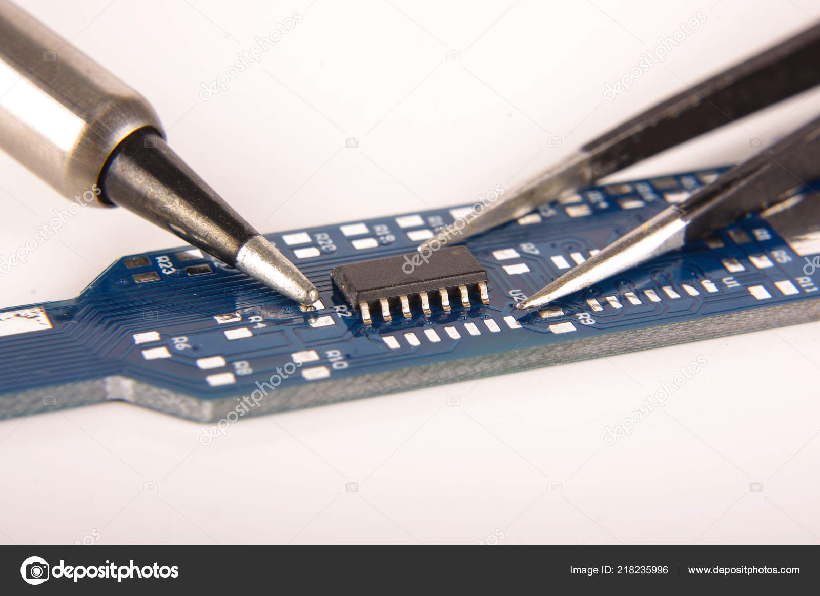 Small Electronics Integrated Circuit Empty Printed Board Ic On Ready For Hand Assembly Amphoto
