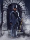Fotografie Fantasy vlkodlak muž oblečený v viktoriánské oblek stál před branou. 3D vykreslování