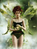 Photo Fantasy green fairy girl with wings and ivy holding a lantern in her hands. 3D render.