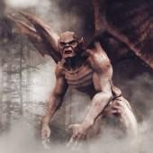Fotografia Mostro vampiro spettrale con ali di pipistrello in una foresta buia di notte. 3d render