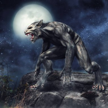 Fantasy werewolf standing on a rocky cliff on a full moon night. 3D render.