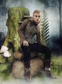 Fantasie männlichen Elfen sitzt auf einem Felsen neben einem Baumstumpf und Pilzen. 3D-Darstellung.