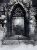 Dark scene with a gothic gate with star and moon symbols and with hanging lanterns. 3D render.