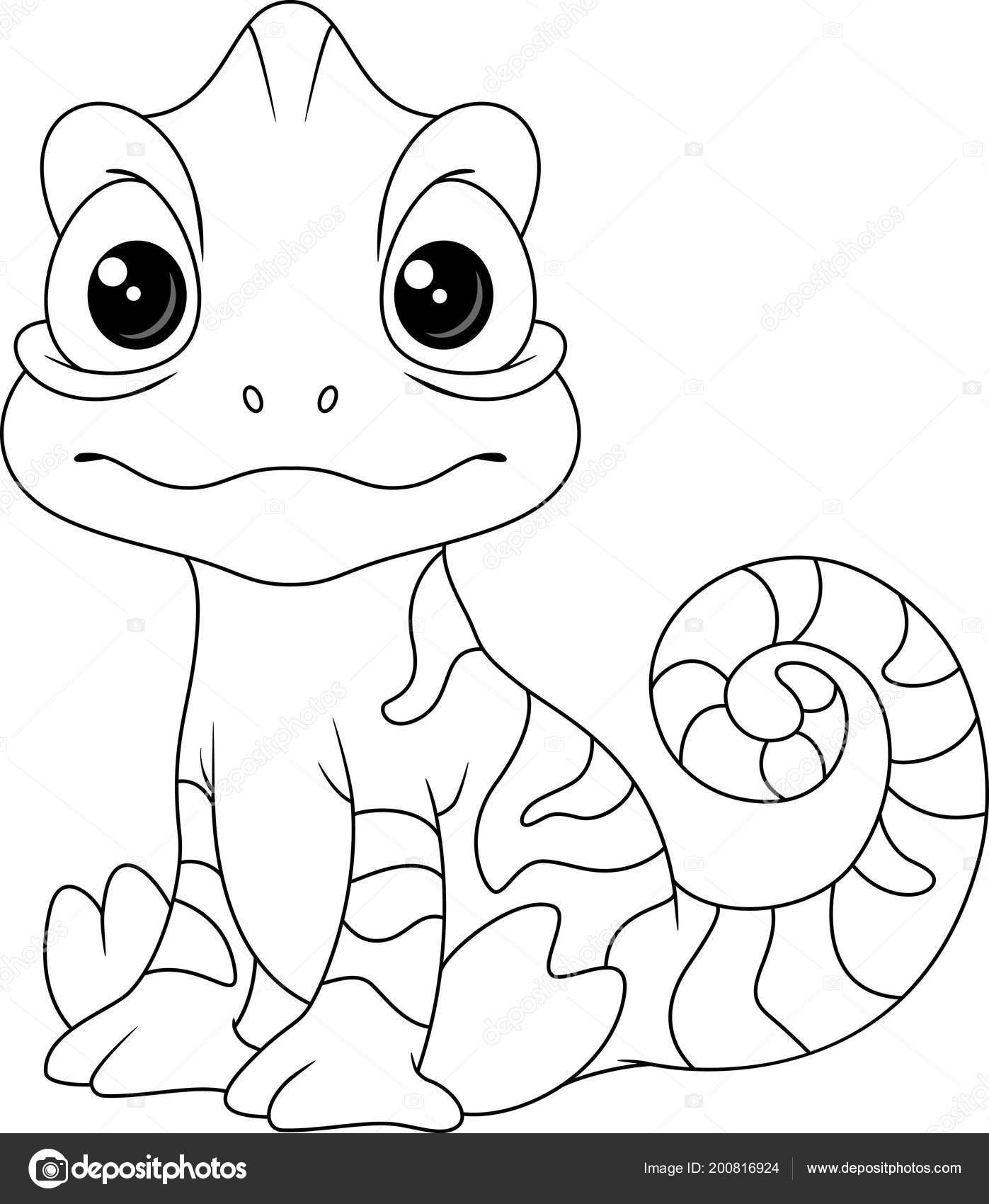Página Para Colorear Dibujos Animados Camaleón Vector De