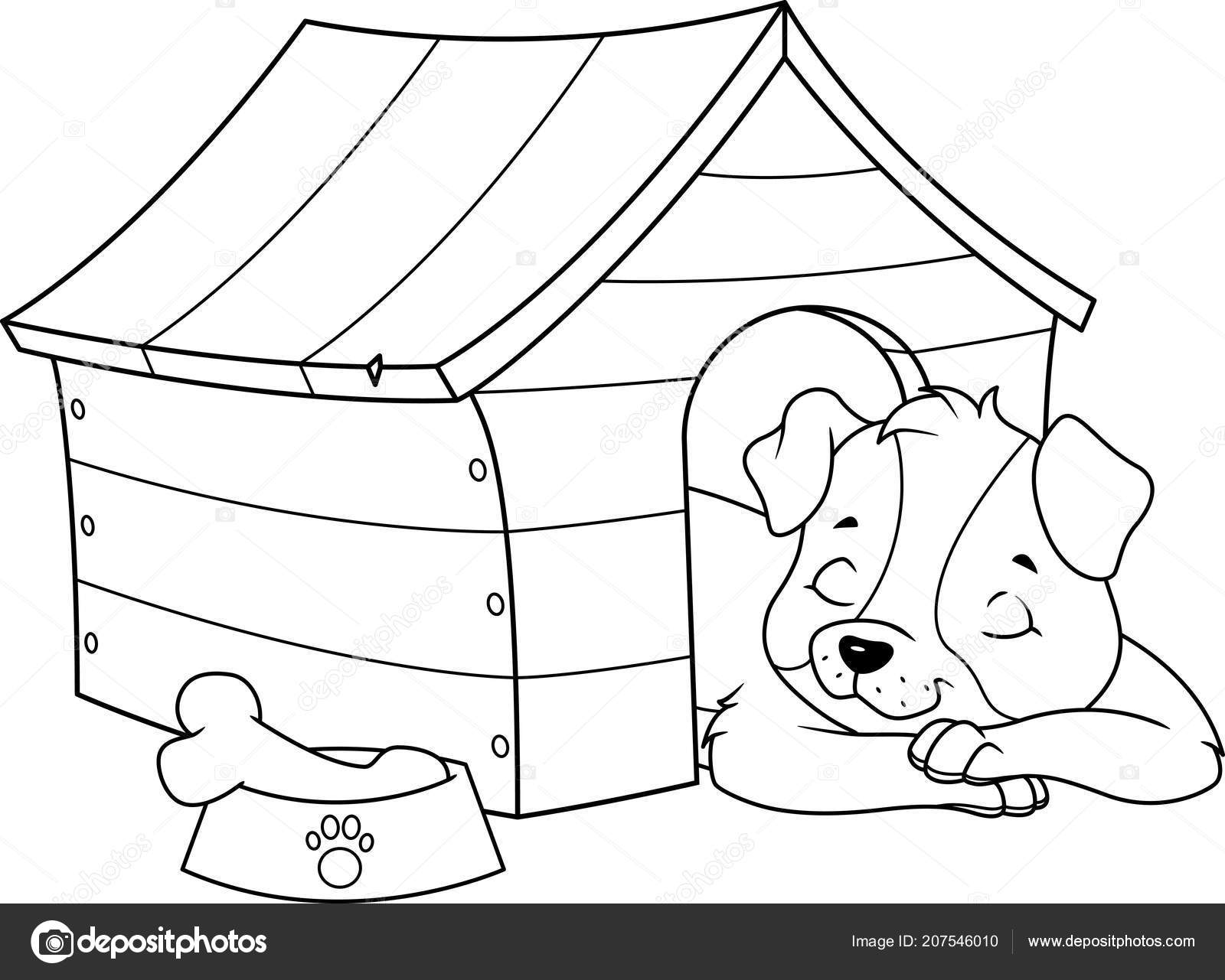 Köpek Yavrusu Sayfa Boyama Bir Köpek Kulübesi Içinde Uyuyor Stok