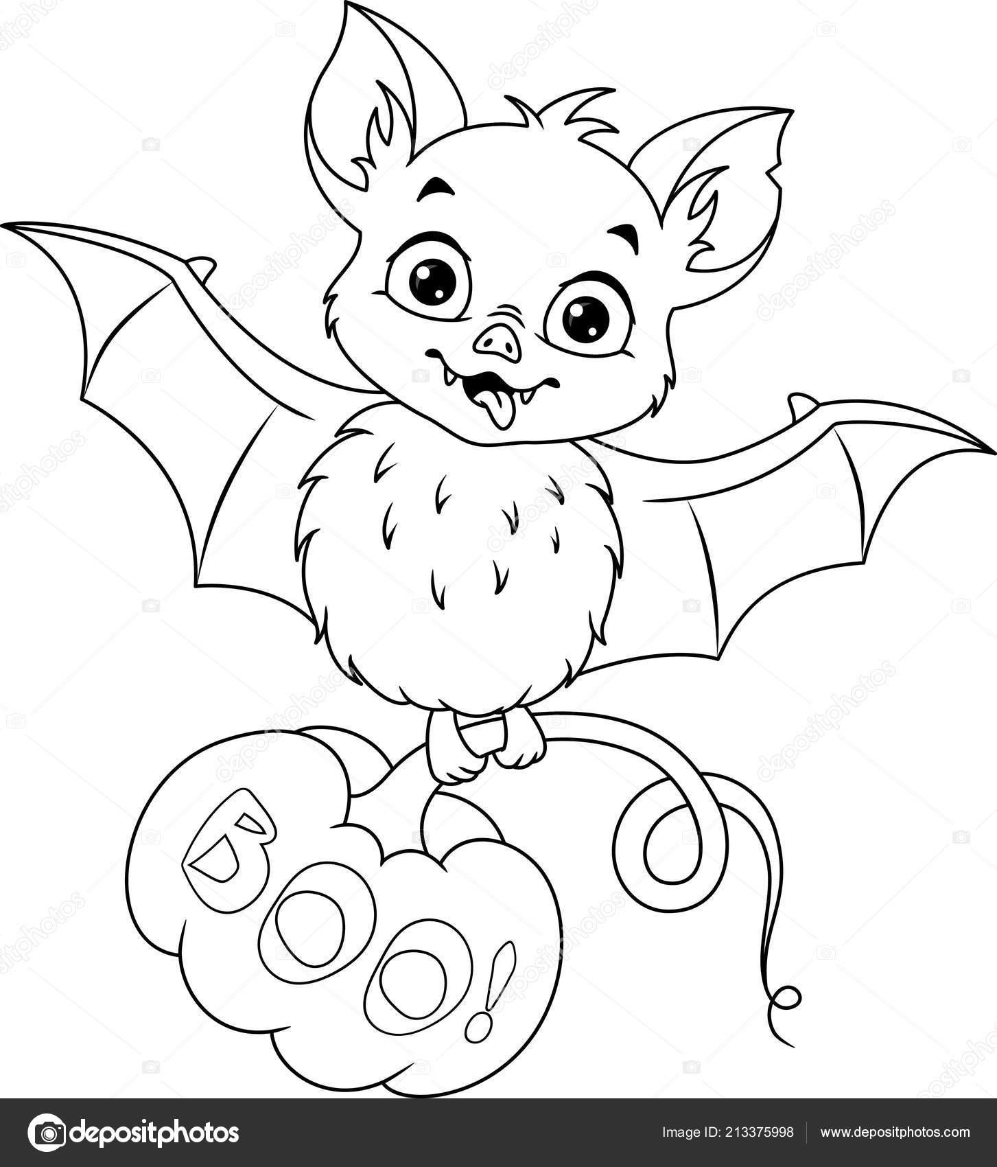 Kleurplaten Halloween Vleermuizen.Vleermuis Met Pompoen Voor Halloween Kleurplaat Pagina Stockvector
