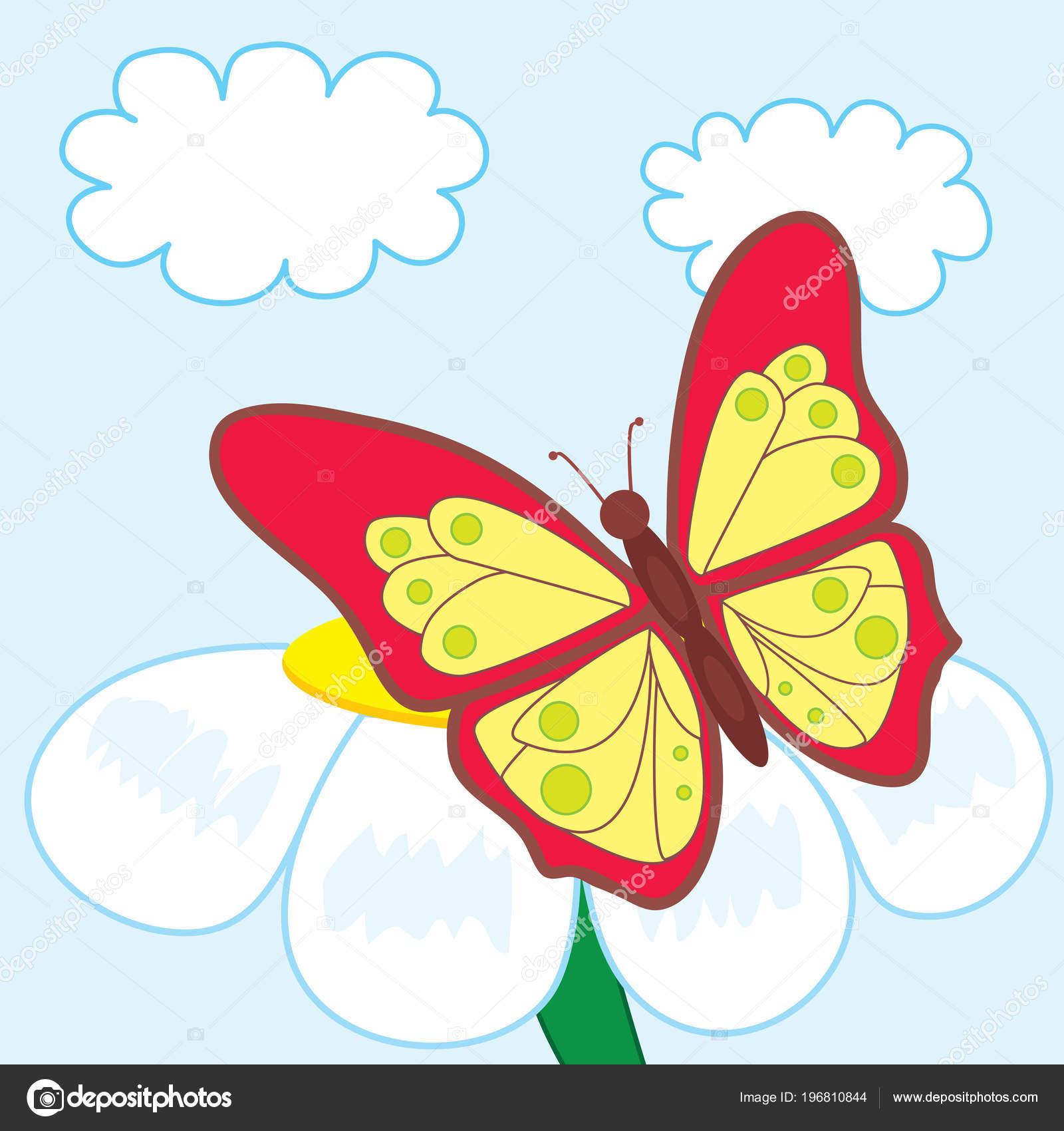 Cartoon Butterfly Beautiful Flower Stock Vector Artbalance