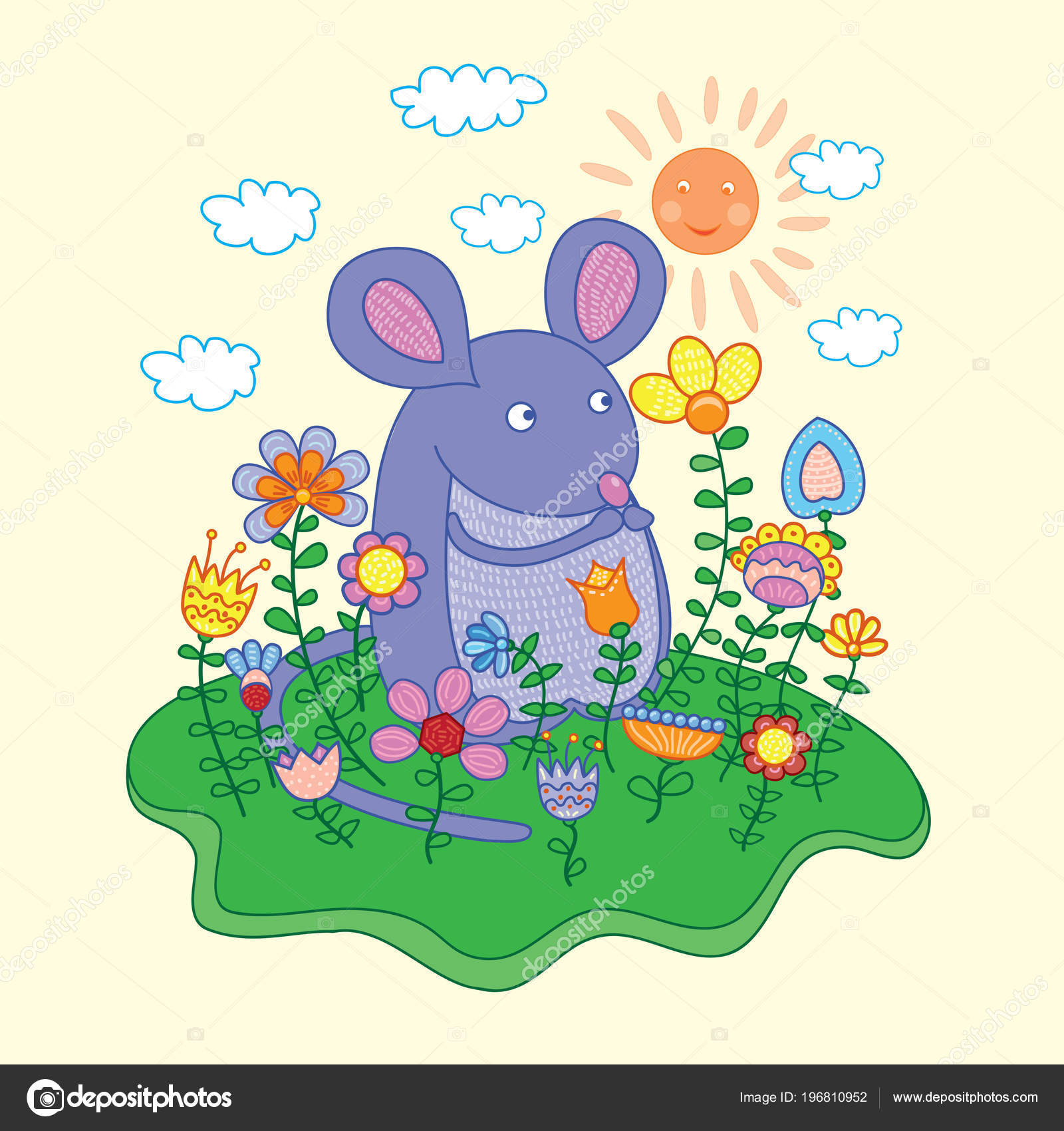 Lustige Maus Mit Blumen — Stockvektor © ARTBALANCE #196810952