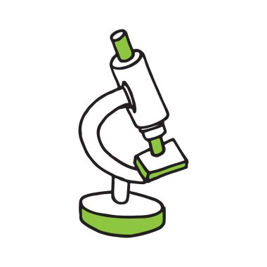 Hand drawn microscope doodle icon. Flat design. Vector illustration