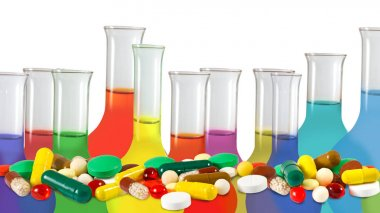 image of chemical flasks and tablets on genetic background