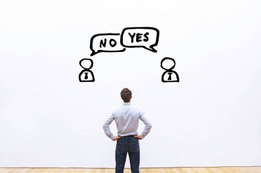 yes vs no, negotiation, dialog or dispute concept, discussion of two business people with different opinions