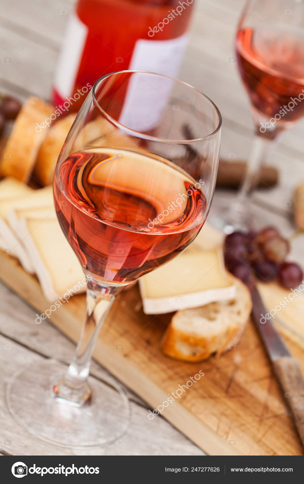 Two Glasses Rose Wine Board Fruits Bread Cheese Wooden Table Stock