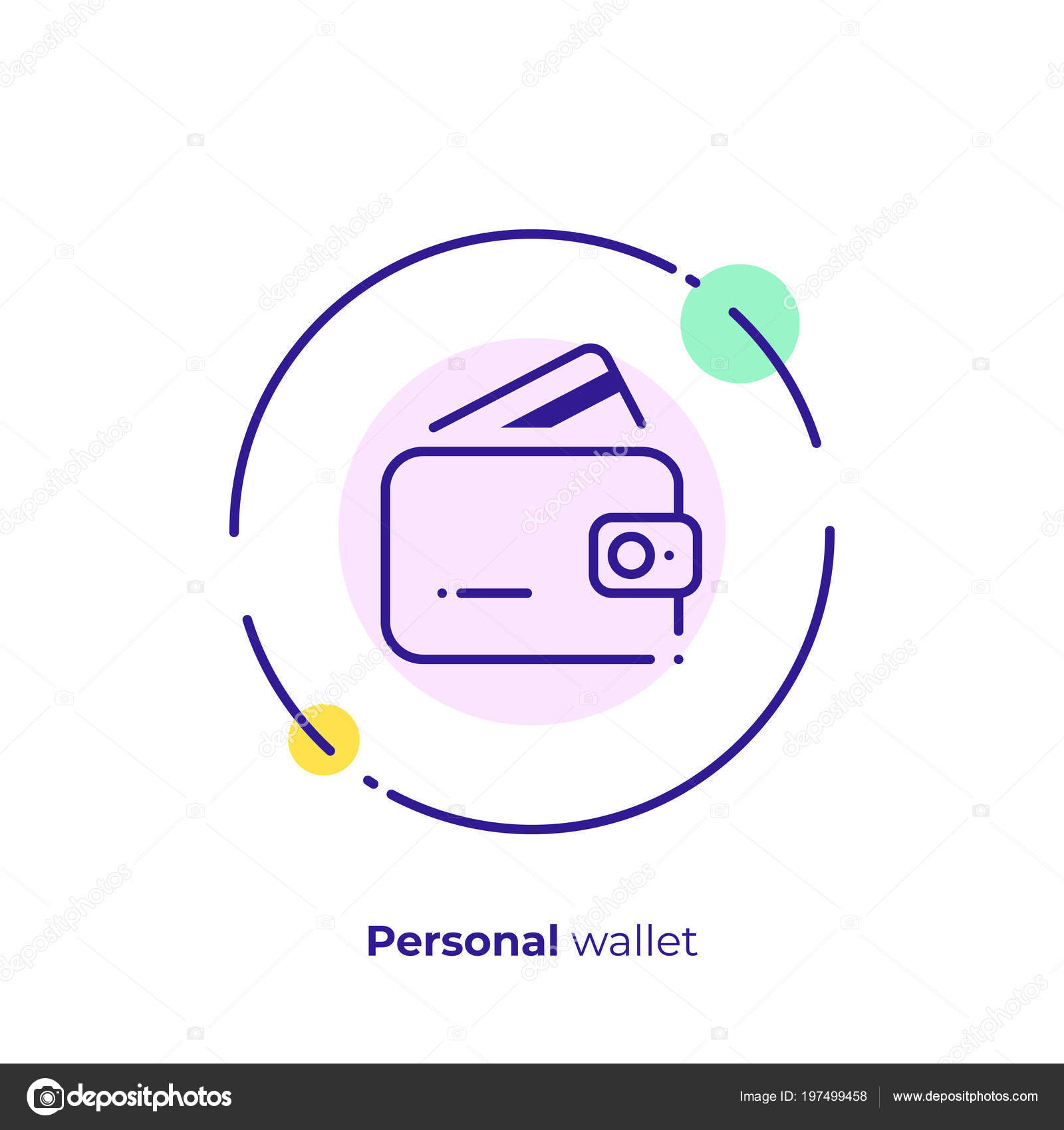 business budget line art icon personal wallet vector art outline