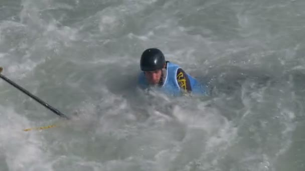 A boy is rescued while rafting down the Dora Baltea river during World Rafting Championship on 23 July 2018, Ivrea (Italy)