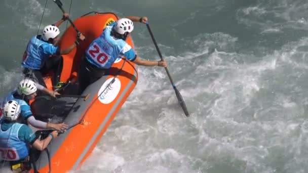 The Italian womens Under 23 rafting team in the training (in slow motion) on the Dora Baltea river during World Rafting Championship on 23 July 2018, Ivrea (Italy)