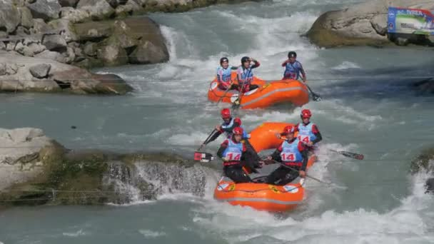 The Albanian Under 23 mens rafting team in the training on the Dora Baltea river during World Rafting Championship on 23 July 2018, Ivrea (Italy)