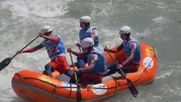 The Bulgarian Under 23 mens rafting team in the training on the Dora Baltea river during World Rafting Championship on 23 July 2018, Ivrea (Italy)