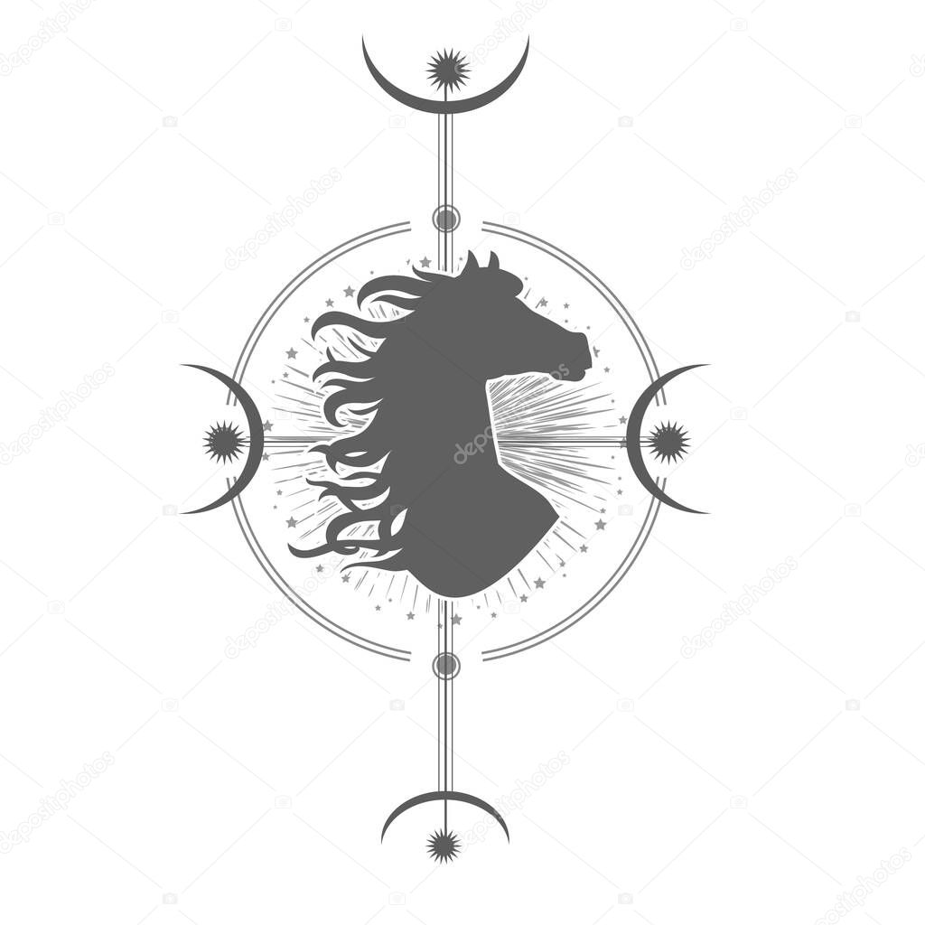 Abstract Geometric Mystical Symbol With Horse Head Silhouette Stars And Moon Tribal Hipster Print For T Shirt Tattoo Design Bohemian Spirituality Art Vector Premium Vector In Adobe Illustrator Ai Ai Format