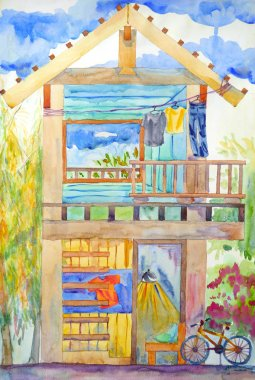 wooden home structure art watercolor painting illustration design