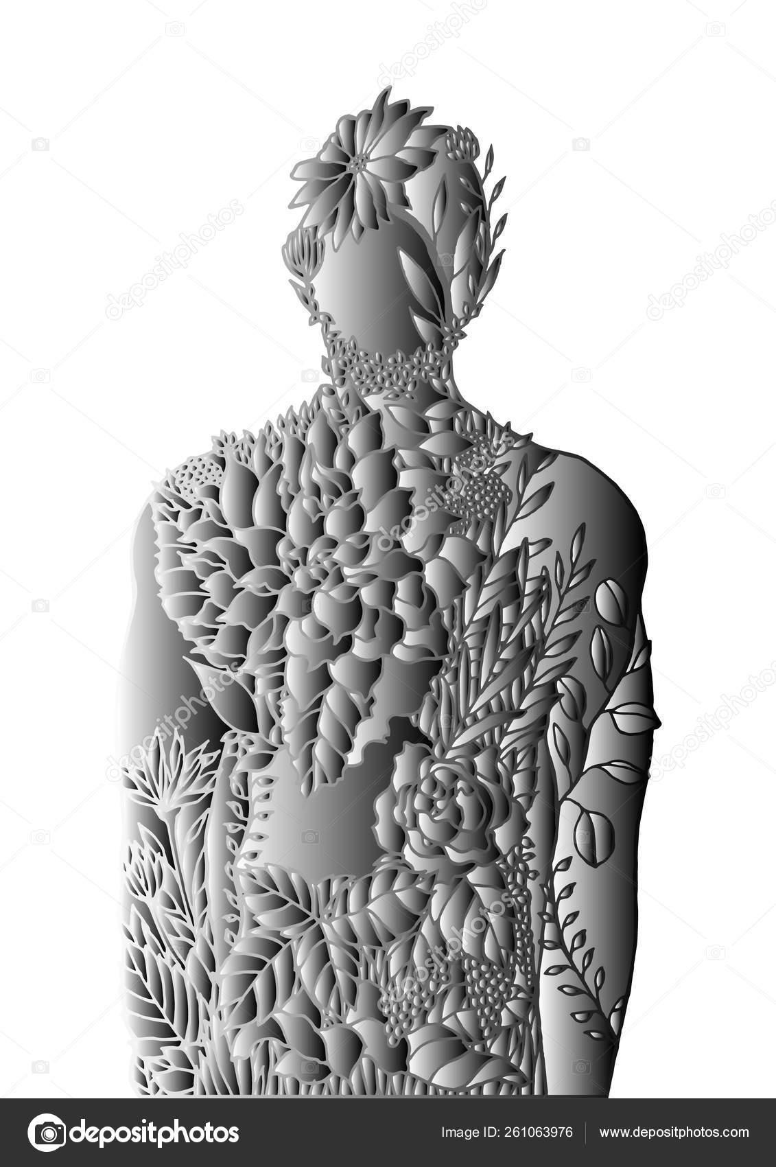 Human Body Flower Spirit Power Energy Vector Abstract Art