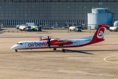 Berlin, Germany, September 8, 2018: Bombardier Dash 8 Q400 by AirBerlin at Tegel airport in Berlin.