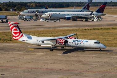 Berlin, Germany, September 8, 2018: Bombardier Dash 8 Q400 by AirBerlin at Tegel airport in Berlin.