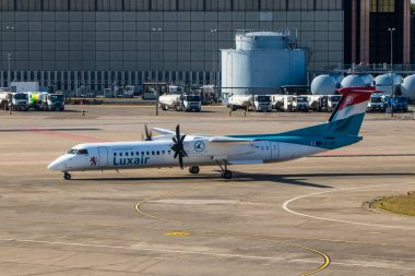 Berlin, Germany, September 8, 2018: Bombardier Dash 8 Q400 by Luxair at Tegel airport in Berlin.