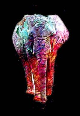 Elephant art illustration retro vintage old